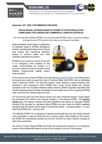 Ocean Signal Extends Range of EPIRBs for Leisure and Commercial Users