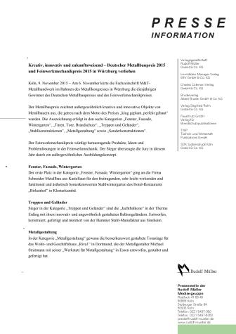 Deutscher Metallbaupreis 2015 und Feinwerkmechanikpreis 2015 verliehen