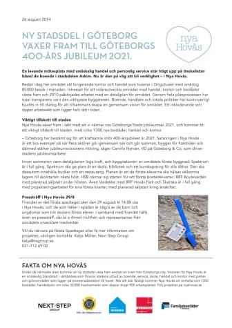NY STADSDEL I GÖTEBORG VÄXER FRAM TILL GÖTEBORGS 400-ÅRS JUBILEUM 2021.