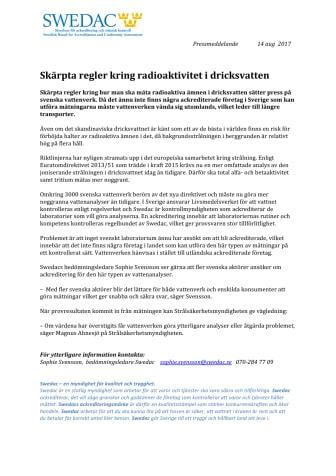 Skärpta regler kring radioaktivitet i dricksvatten