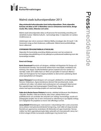 Malmö stads kulturstipendiater 2013 utsedda
