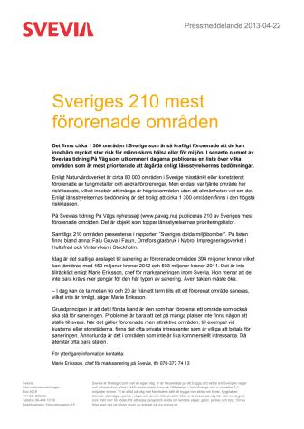 Sveriges 210 mest förorenade områden