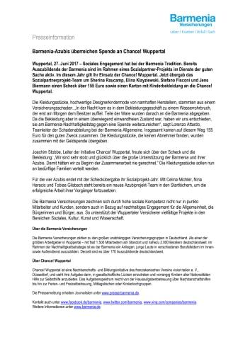 Barmenia-Azubis überreichen Spende an Chance! Wuppertal