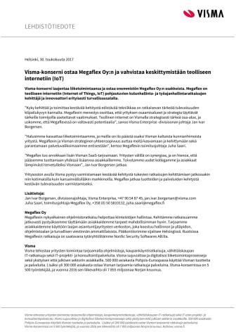 Visma-konserni ostaa Megaflex Oy:n ja vahvistaa keskittymistään teolliseen internetiin (IoT)