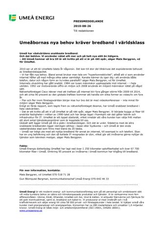 Umeåbornas nya behov kräver bredband i världsklass