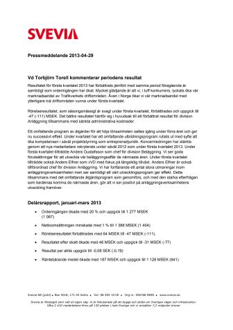 Svevias delårsrapport, januari-mars 2013