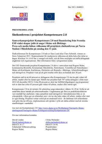 Slutkonferens i projektet Kompetensare 2.0