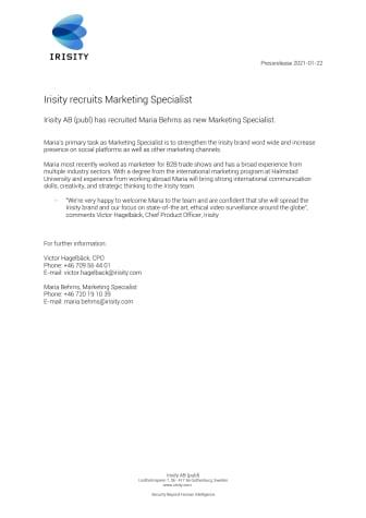 Irisity recruits Marketing Specialist