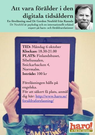 Förälder i den digitala tidsåldern, föreläsning i Stockholm, Gordon Neufeld