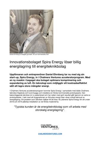 Innovationsbolaget Spira Energy löser billig energilagring till energiteknikbolag