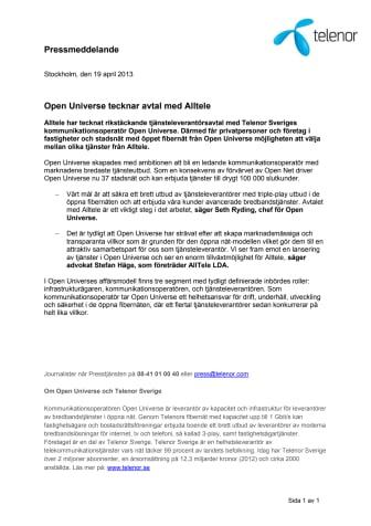Open Universe tecknar avtal med Alltele