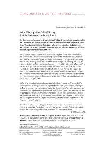Keine Führung ohne Selbstführung. Start der Goetheanum Leadership School