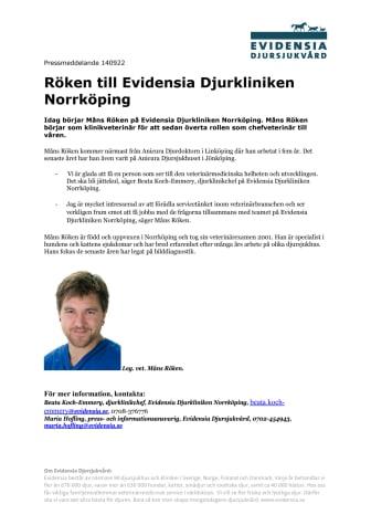 Röken till Evidensia Djurkliniken Norrköping