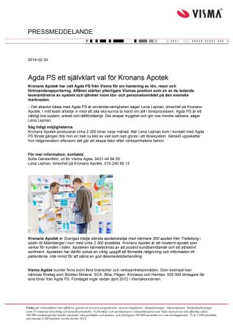 Agda PS ett självklart val för Kronans Apotek