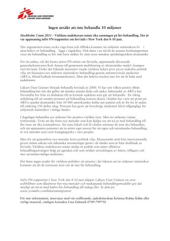 FN-toppmöte om hiv 8-10 juni: Ingen ursäkt att inte behandla 10 miljoner