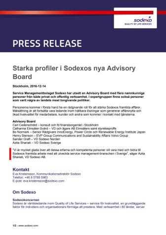Starka profiler i Sodexos nya Advisory Board