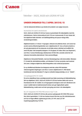 Canon teknisk förklaring XA25, XA20, LEGRIA HF G30