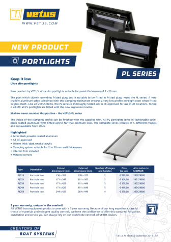 VETUS PL series portlights - Information Sheet