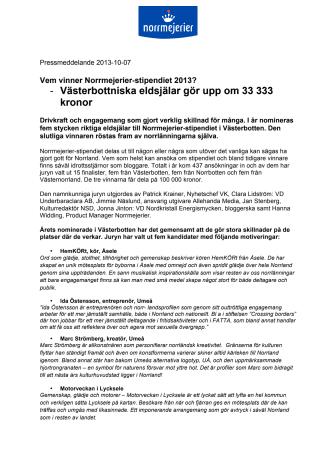 Vem vinner Norrmejerier-stipendiet 2013? -Västerbottniska eldsjälar gör upp om 33 333 kronor
