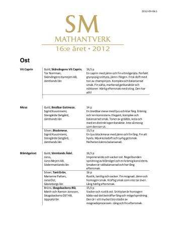 Sveriges bästa mathantverk 2012!