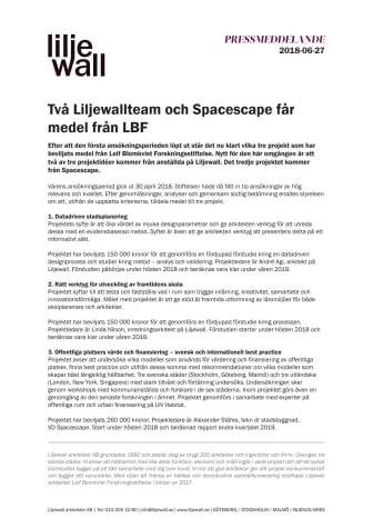Två Liljewallteam och Spacescape får medel från LBF