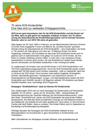 "SOS-Kinderdörfer feiern 70. Geburtstag mit Kinderrechte-Kampagne ""GiveKidsAVoice"":"