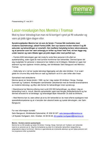Laser-revolusjon hos Memira i Tromsø