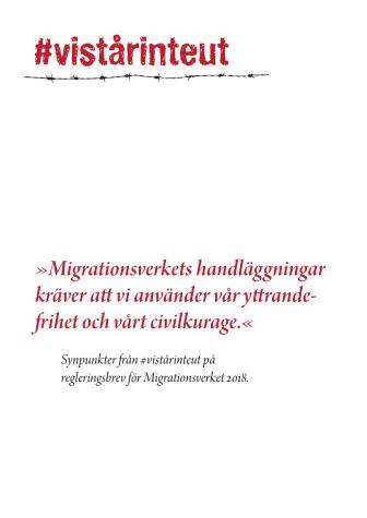 Synpunkter från #vistårinteut på regleringsbrev för Migrationsverket 2018