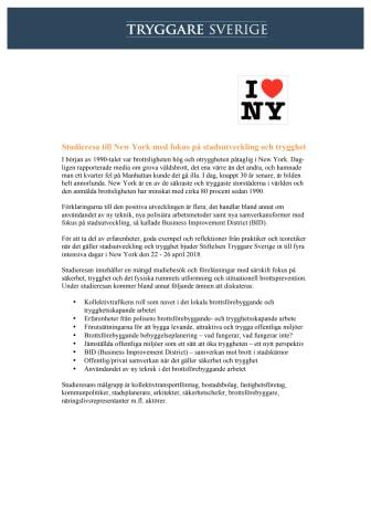 Studieresa till New York med fokus på stadsutveckling & trygghet 22-26 april