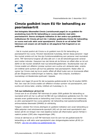 Cimzia godkänt inom EU för behandling av psoriasisartrit