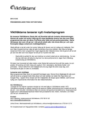 ViktVäktarna lanserar nytt rivstartsprogram