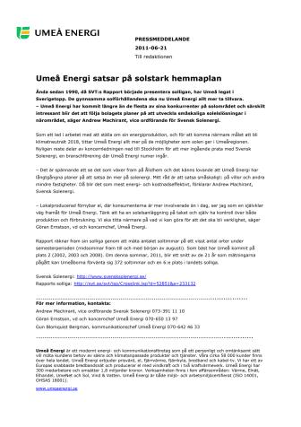 Umeå Energi satsar på solstark hemmaplan