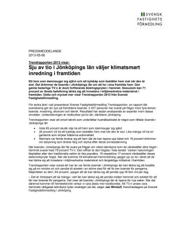 Trendrapporten 2013 visar: Sju av tio i Jönköpings län väljer klimatsmart inredning i framtiden