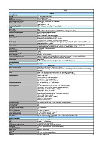 Canon Tekniska specifikationer XA20