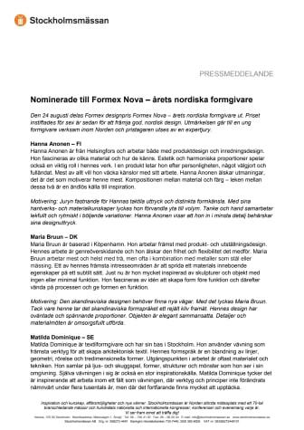 Nominerade till Formex Nova – årets nordiska formgivare