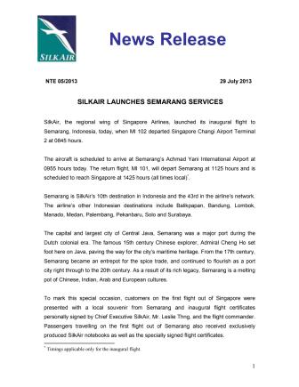 SilkAir Launches Semarang Services