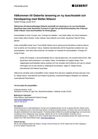 Pressträff: Geberit lanserar ny duschtoalett och trendspaning med Stefan Nilsson