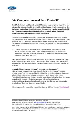 Via Campocatino med Ford Fiesta ST