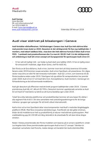 Audi visar eldrivet på bilsalongen i Geneve
