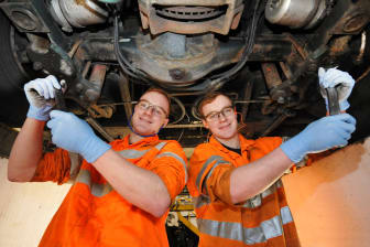 Go North East apprentices James (L) and Matthew Barnes
