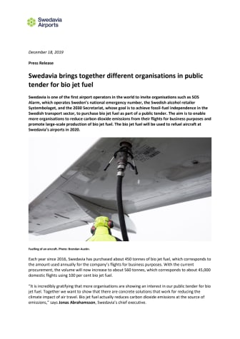 Swedavia brings together different organisations in public tender for bio jet fuel