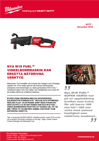 NYA M18 FUEL™ VINKELBORRMASKIN KAN ERSÄTTA NÄTDRIVNA VERKTYG