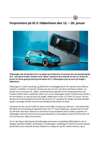 Forpremiere på ID.3 i København den 12.–20. januar