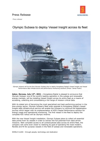 Olympic Subsea to deploy Vessel Insight across its fleet