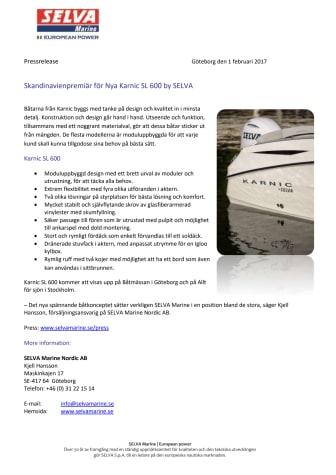 Skandinavienpremiär för Nya Karnic SL 600 by SELVA