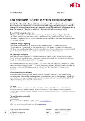 Frico introducerar PA-serien, en ny serie intelligenta luftridåer