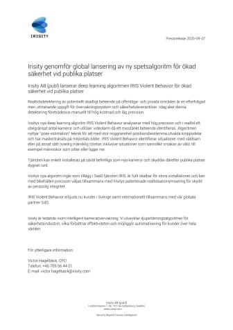 Irisity genomför global lansering av ny spetsalgoritm för ökad säkerhet vid publika platser