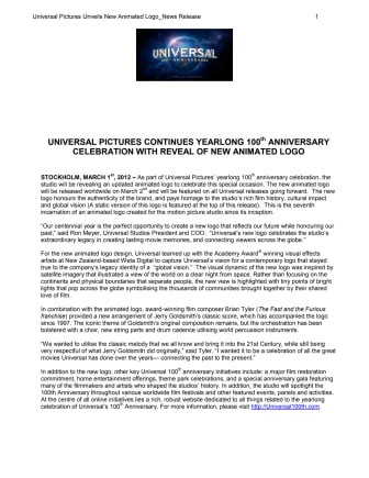 UNIVERSAL PICTURES CONTINUES YEARLONG 100th ANNIVERSARY  CELEBRATION WITH REVEAL OF NEW ANIMATED LOGO