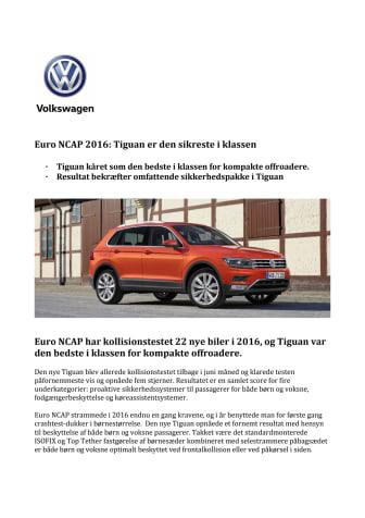 Euro NCAP 2016: Tiguan er den sikreste i klassen