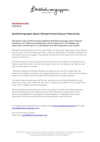 Bockholmengruppen öppnar Hötorget Kvarterskrog och Takservering